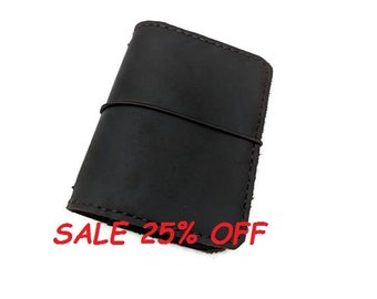Micro Size Asian Vintage Travelers Notebook Wallet  Genuine Leather Colors Handmade Handstitched Black Color