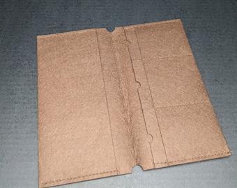 Brown Felt Fabric File Folder Insert for Traveler's Notebook Standard Size - Card Holder Envelope - Midori Accessories