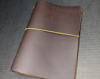 Brown A5 Size Asian Vintage Travelers Notebook Real Leather Refillable Diary, Hobonichi Cover