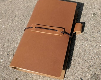 Travelers Notebook Genuine Cowhide Smooth Leather Handmade, Camel Color Standard and Personal Size