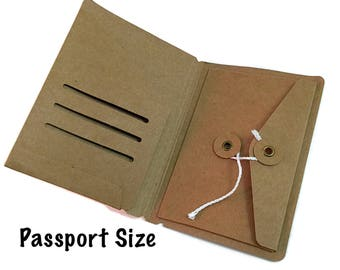 Passport Size Kraft File Folder with Envelope Insert for Travelers Notebook Credit Card Holder Midori Accessories Unique Design