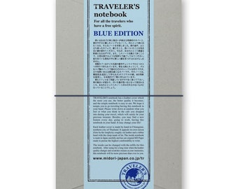2015 Midori Blue Edition Regular Size Midori Travelers Notebook by Travelers Company Japan, Made in Thailand