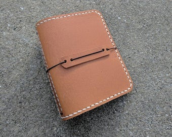 Micro Size Travelers Notebook Wallet, Genuine Leather, Orange Brown Color