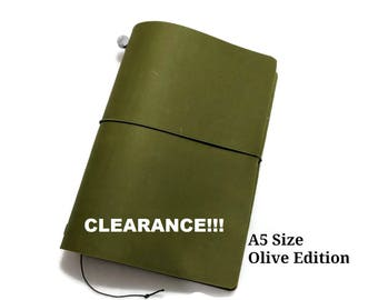Clearance! Olive Edition Asian Vintage Travelers Notebook Genuine Leather Refillable Diary A5 Size