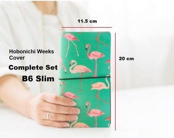 Hobonichi Weeks Cover Asian Vintage Travelers Notebook B6 Slim PU Leather Cover Refillable Diary, Pink Flamingo Complete Set