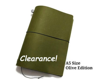 Olive Asian Vintage Travelers Notebook Genuine Leather Refillable Diary A5 Size