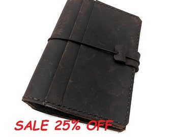 Passport Size Asian Vintage Travelers Notebook with Pockets Unique Design Handmade Genuine Leather Brown