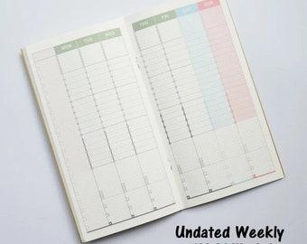 Weekly Planner Regular Size Insert Travel Planner for Midori Travelers Notebook, Paper Refills Starndard 22 x 12 cm, Colored