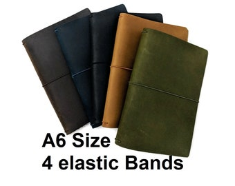 A6 Size Asian Vintage Travelers Notebook Genuine Leather Refillable Journal, 4 Elastic Bands