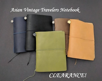 25% OFF! Passport Size Asian Vintage Travelers Notebook Genuine Leather Refillable Journal Year End Sale