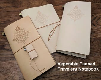 A5 / Standard Size Asian Vintage Travelers Notebook No Dye Veg Tan Leather Handmade, Embossed Compass Design