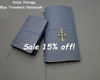 Blue  Asian Vintage Travelers Notebook Genuine Leather Refillable Diary Standard and Passport Size
