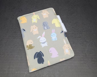 Cover for Hobonichi A5 A6 Size Japanese Planner, Organizer Faux Leather Notebook, Cute Multicolor Rabbit Cartoon Bunny Run Run