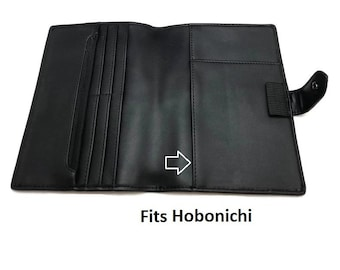A5 A6 Size Hobonichi Cover Planner Faux Leather Black