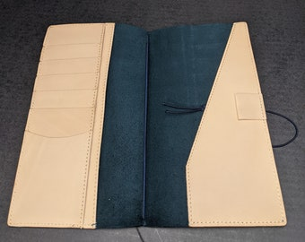 Blue Regular Midori Travelers Notebook by Travelers Company Japan, Made in Thailand Stitched Pocket