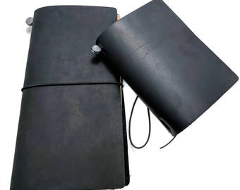 Black Asian Vintage Travelers Notebook Genuine Leather Refillable Diary Standard and Passport Size