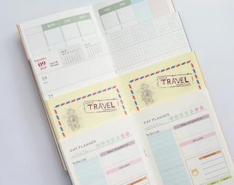 Regular Size Insert Planner for Midori Travelers Notebook, Paper Refills Standard 22 x 12 cm, Colored Prints