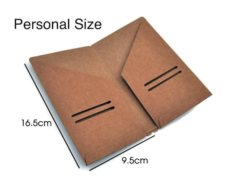 6d357421bcc6 Personal Size Kraft File Folder Insert for Traveler's Notebook - Receipts,  Credit Card Holder - Midori Accessories