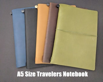 A5 Size Asian Vintage Travelers Notebook Genuine Leather Refillable Diary