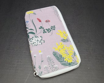Hobonichi Weeks | Mega Cover Zippered Wallet Style Cloth + Faux Leather Floral Print - Yellow White Flowers