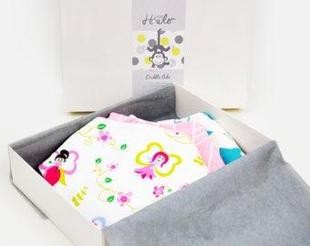 Handmade Baby Dribble Bandana Bib - Fairies THREE PACK - 100% Cotton with Fleece Back - Adjustable Snaps - Luxuriously Thick & Soft