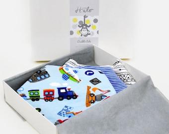 Handmade Baby Dribble Bandana Bib - Cars THREE PACK - 100% Cotton with Fleece Back - Adjustable Snaps - Luxuriously Thick & Soft