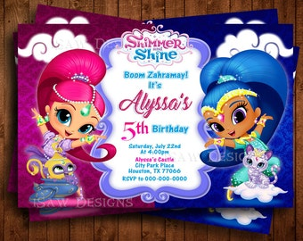 Shimmer And Shine Invitation Etsy
