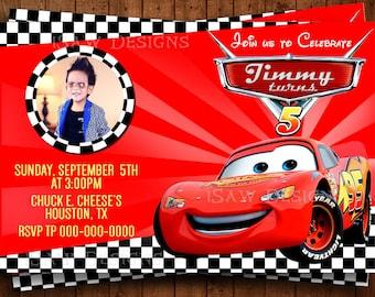 DISNEY CARS 3 MOVIE Printed Personalized Invitations