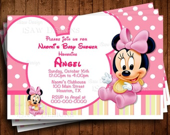 Disney baby shower invitations etsy baby minnie mouse printed personalized invitations disney baby minnie mouse its a girl baby shower party invitations polka pink invites filmwisefo