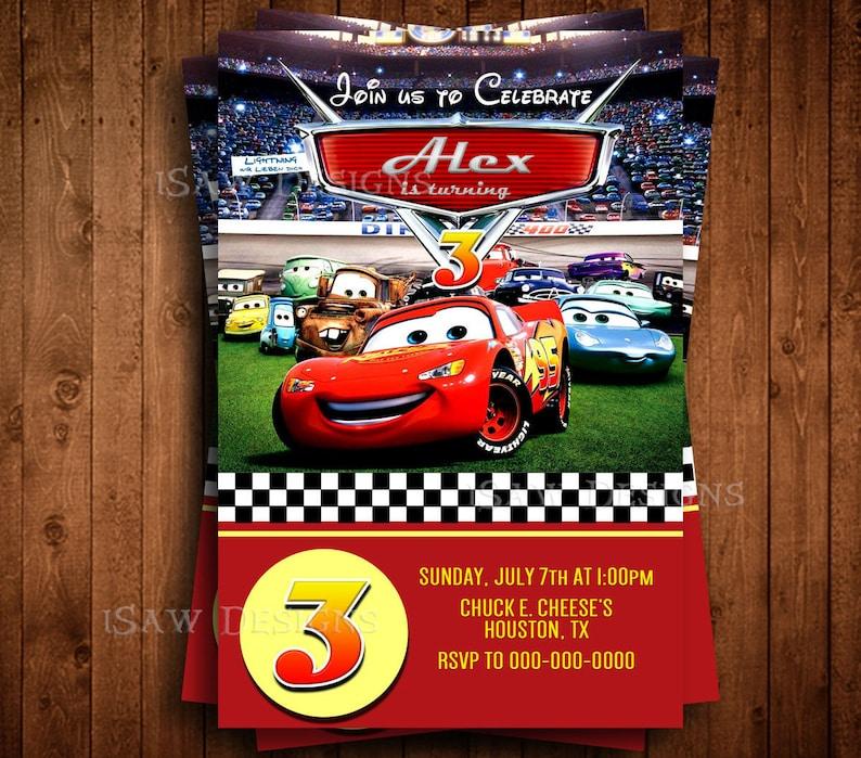 DISNEY CARS MOVIE 3 Digital Lightning McQueen Birthday Party