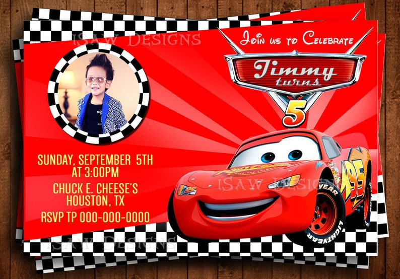 DISNEY CARS 3 MOVIE Printed Personalized Invitations Disney