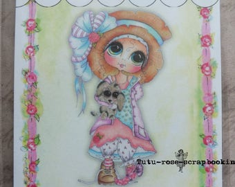 Great little girl romantic clear stamp eyes little dog friends scrapbooking cardmaking