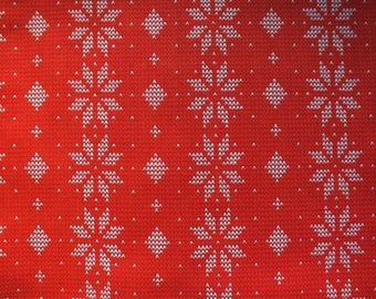 coupon fabric Christmas L 45 x 53 cm fat quarter red and White Snowflake Style embroidery