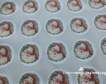 Christmas 35 stickers Father Christmas Vintage Victorian creative packaging, gifts, scrapbooking, cardmaking, handmade