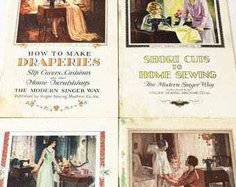 Singer Sewing Library. 1927-1928. 4 volumes in slipcase. FIRST EDITION Vintage green book. Sewing, Dresses, Children's Clothes Draperies