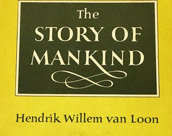 The Story of Mankind book by Hendrik Willen Van Loon.  Vintage Pocket Library book circa 1959. Newbery Medal winner. Children's literature.