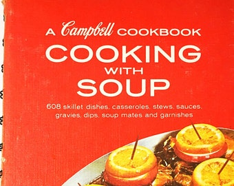 A Campbell's Cookbook.  Cooking with Soup.   Rare & Collectible Cookbook Red retro cookbook.  Book lover gift. Andy Warhol