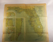 1930 vintage Florida map Depression era Williams Heintz National Geographic Perfect for framing Art wall decor Mother 39 s Father 39 s Day gift