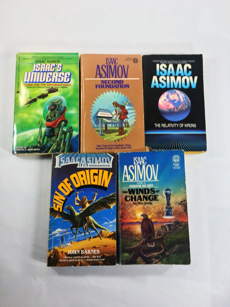 Issac Asimov vintage paperback book lot of 5 books including Relativity of  Wrong, Winds of Change, Sin of Origin, Universe Second Foundation