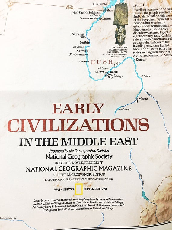 World Map Ancient Civilizations.Middle East Map And Early Civilizations National Geographic Vintage