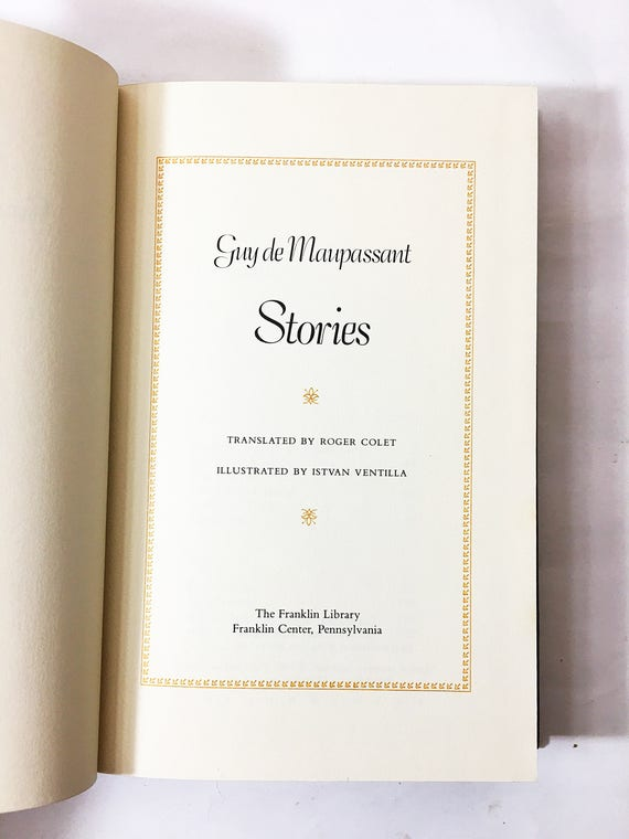 Guy De Maupassant The Master Of Short Stories Vintage Book Etsy