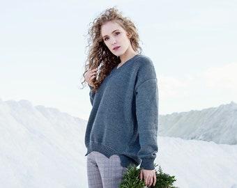 MERINO wool sweater - pullover SWEATER - v-neck sweater - GREY sweater - classic sweater elegant sweater