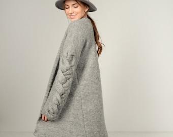 Grey wool jacket - alpaca COAT - oversized KNITWEAR - open front cardigan - grey cardigan - plus size cardigan - Cable knit coat
