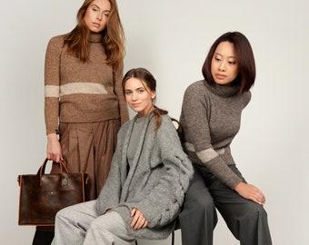 GREY coat - CABLE knit cardigan - grey wool jacket  - alpaca COAT - fluffy cardigan - grey cardigan
