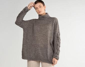 High neck sweater - unique sweater - classic sweater - GREY sweater - plus size sweater - cable knit sweater - wrap sweater - alpaca sweater