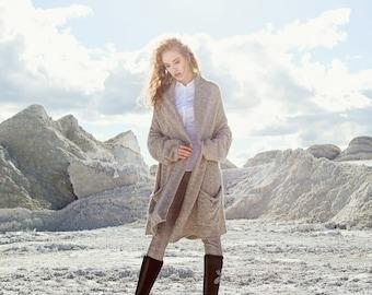 Grey wool cardigan - plus size cardigan - oversized cardigan  - alpaca COAT - carigan with pockets - loose cardigan - grey cardigan