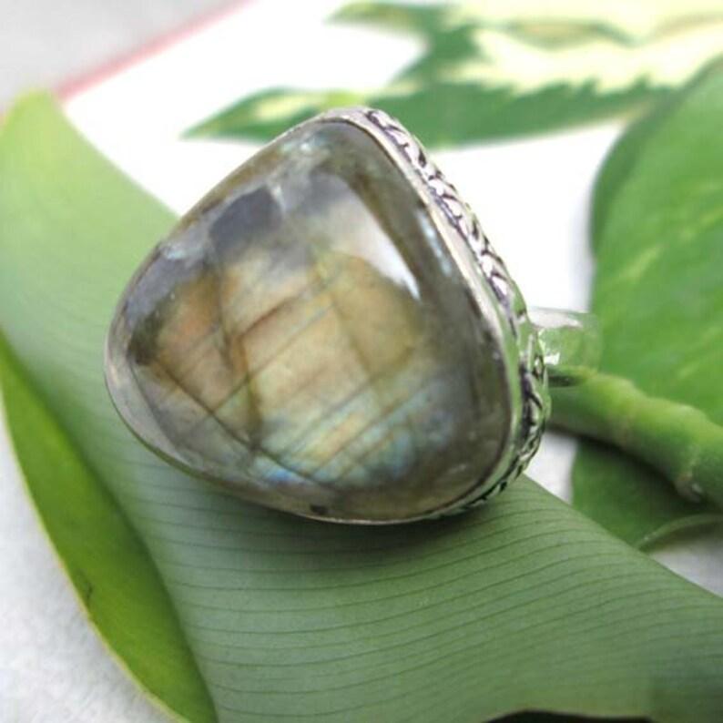 Designer Labradorite Silver Ring-Natural Gemstone Ring-Vintage Style Jewelry-Birthday*Festival*Anniversary Gift Ring-Fashion Ring-Jewelry375