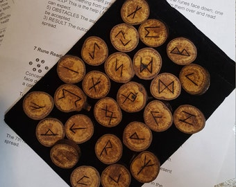 Wood runes - oak runes - Viking Runes - rune pouch, rune meanings and rune reading instruction included