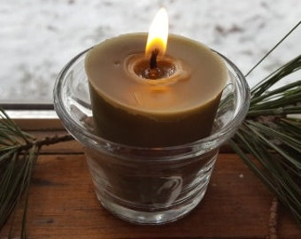 Real Bayberry Candle for good luck- 12 hour votive made from genuine bayberry wax