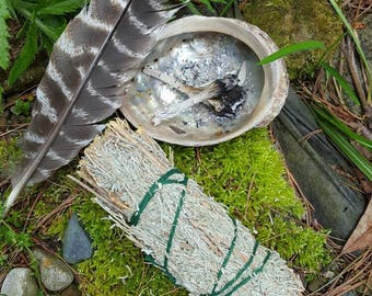 sweet grass and sage stick for smudging - purification and good spirits - smudge instruction included